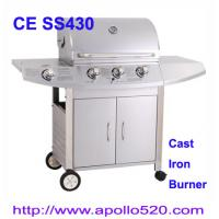 China Outdoors Gas Grill cast iron 3burner plus side burner on sale