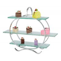 Buy cheap 3 - Layer Glass Cake Display Stand with Platters Decorating for Banquet Serving Buffet product