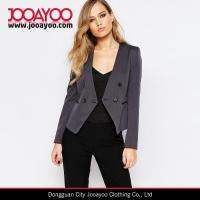 China Ladies Textured Collarless Office Wear Cropped Blazer in Charcoal on sale