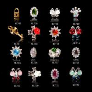 Buy cheap Bijoux ML707-722 d'alliage de flèche de cupidon de papillon d'argent d'or de scintillement de décoration d'art de clou product