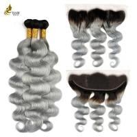 "Buy cheap 1B / Grey Remy Human Hair Extensions 8 "" - 32 "" Dyed Chemical Processing product"