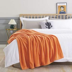China Orange Bedsure Microfiber Blanket , Flannel Fleece Luxury Blanket By Bedsure on sale