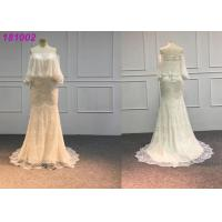 Elegant Gold Mermaid Wedding Dresses / Handmade Vintage Lace Mermaid Wedding Dress