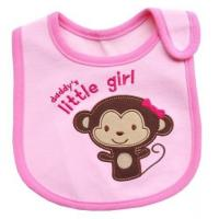 China Pink Monkey Feeding Bibs For Babies / Personalized Baby Bibs for Baby Girl on sale