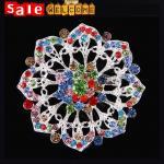 Bohemian colorful full crystal long big silver geometric flower hollow