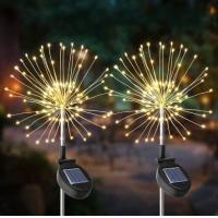 China 2PCS Solar Powered 105LED Starburst Fireworks Fairy String Landscape Light Christmas Outdoor Decor on sale
