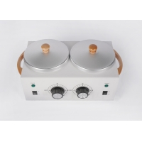 Buy cheap Double pot wax heater 1lb *2 metal wax warmer for salon beauty 2LB double 500cc for us 300w 500cc*2 wooden handle product