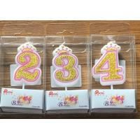 White Candle  Gold painting and Pink line with Cute Crown Number Birthday Candles 0-9 for sale