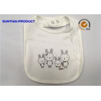 China Rabbit Screen Print White Cotton Baby Bibs Single Layer Ring Snap For Closure on sale