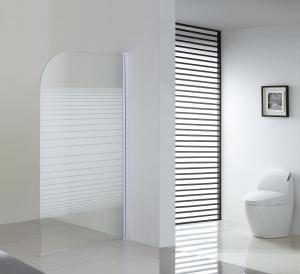 China 6mm Silk Glass Bathtub Shower Screen White Bathroom Fixed Bath Shower Screen wholesale