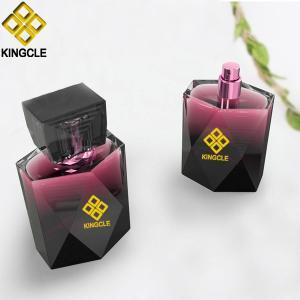 Buy cheap 100ml rectangular black glass perfume spray bottles with black cap for men product