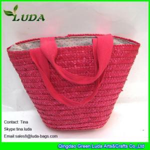 LUDA venden al por mayor bolsos rosados de la paja del trigo de los pequeños bolsos de los monederos de la marca conocida