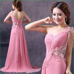 Beau rose de vente chaud perlant une robe formelle S/M/L/XL de bal d'étudiants de longues de mousseline de soie de fleur d'épaule femmes de robe en stock