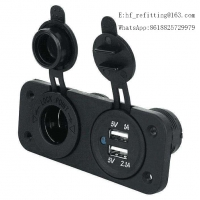 Buy cheap 12-24V Dual USB Port Socket Charger 3.1A with Two Hole Panel for Car Boat Motorcycle product