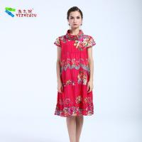 China Comfortable Red Short Cotton Summer Dresses Floral Pattern For Mature Woman on sale