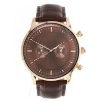 Buy cheap Brown Stainless Steel Chronograph Watch Mens Leather Strap Watches Mineral Crystal product