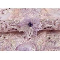 Buy cheap Wedding Beige Purple Pink Colorful Mesh Lace Fabric Ostrich Feather Sequin 3d product
