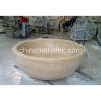 China Galala Beige Marble bathtubs, marble tubs, marble round bah tubs, natural stone free-standing tubs on sale