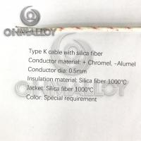 China Silica Fiber 1000°C  Type K Thermocouple Cable 0.5mm Conductor on sale