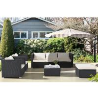 China 7PC Outdoor Furniture Rattan Wicker Patio Sectional Sofa Set with Cushions,Black on sale