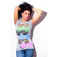 Buy cheap Womens short sleeves tshirt round neck glasses printing front product
