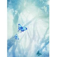 China Elegant light blue / dark blue / green / yellow / pink /butterfly wall decoration painting on sale