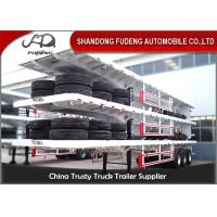 Buy cheap 40ft container carry flatbed truck trailer Air suspension super single tire for Tanzania product