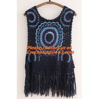 China Mori Gilet Women Navy Blue Beige Fringe Crochet Vest Femme Knitted Hollow Out Spring Summe on sale