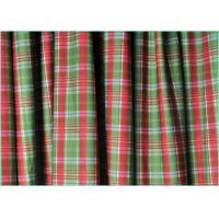 Red And Green 4 Way Stretch Warp Knitted Matt Lycra Plaid Fabric / Printed Spandex Fabric  1.5m*220gsm