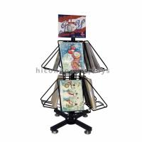 China Greeting Cards Retail Store Fixtures Movable Commercial Book Display Wire Spinner Rack wholesale