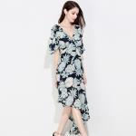 Buy cheap Chiffon Half Short Long Sleeve Casual Dresses Elegant For Women product