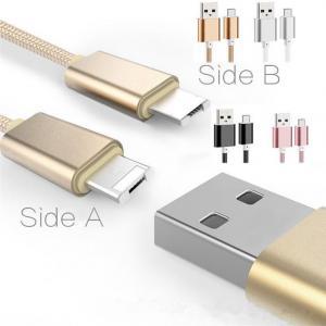 Buy cheap 2 en 1 foudre de remplissage de câble d'USB de données tressées en nylon micro de câble câblent pour l'iphone 6s 6 5s 5 du bord s6 de Samsung s7 product