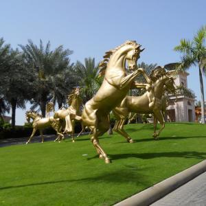 China Decorative giant copper golden fat horse statue, bronze horse statue on sale