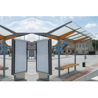 China Unique Shape Stainless Steel Bus Stop Heat Resistant With Advertising Light Box on sale