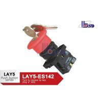 China Red Emergency Stop Push Button Switch / Emergency Stop Switch With Key on sale
