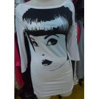 Buy cheap Ladies Three Quarter Length Sleeve T Shirts , White Stylish Long Tops Custom Size product