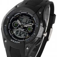 Buy cheap Lcd Dual Time Black Sport Wrist Watches For Men , Analog Stopwatch product