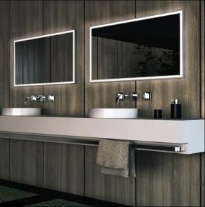 Buy cheap o espelho do banheiro do diodo emissor de luz dos framelss, esquadra o espelho leve do banheiro product
