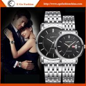 do relógio de aço inoxidável do amante dos relógios dos pares das marcas do ouro de 055A Rosa relógio romano do OEM dos números