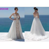Buy cheap Lace And Sequinned V Neckline Mermaid Style Wedding Dress Detachable Over Skirt product