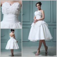 Buy cheap Customized Flower Lace Chiffon Backless Wedding Dresses Tea length Ball Gown product