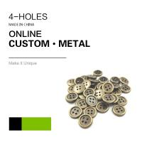 Buy cheap Custom 4 Holes Metal Clothing Buttons Antique Brass Color Bulk Fashion Apparel product