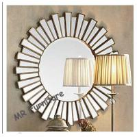 Buy cheap 36 Inch Wooden Strips 3d Mirror Wall Art , Modern Wood Framed Wall Mirrors product