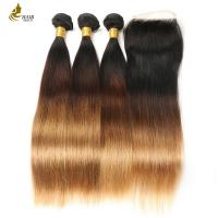 Buy cheap 1B/4/27 Brazilian Straight Blonde Dark Roots Human Hair Extension With Lace Closure product
