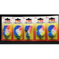 Rainbow Color 0-9 Number Birthday Candles Handmade for sale