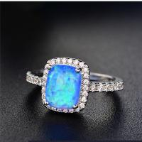 China POLIVA USA Hotselling Small Size  Synthetic White Opal Gems Solitaire Ring on sale