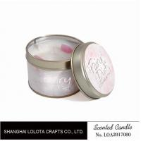 Buy cheap Small Soy Tealight Candles , Tin Can Candles Raspberry / Amber Fragrance product