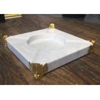 China Natural Stone Crafts Marble Stones For Tray Ashtray With Gold Edge on sale