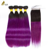 Buy cheap Pre - Colored Brazilian Hair Extensions Straight 4 Bundles With Closure product