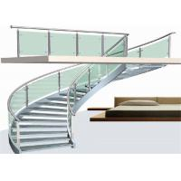 Buy cheap Modern indoor curved glass wood steel stairs circular staircase for sale product